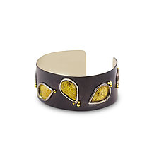 Burning Leaves Cuff Bracelet by Nancy Troske (Gold & Silver Bracelet)