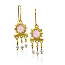Roman Forum Earrings by Nancy Troske (Gold & Stone Earrings)