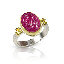 Carved Ruby Ring by Nancy Troske (Gold, Silver & Stone Ring)