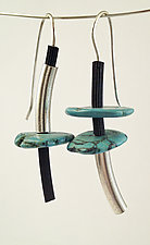 Fun with Turquoise Earrings by Dagmara Costello (Silver, Rubber & Stone Earrings)