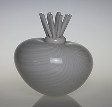 Awesome Blossom in White by Tom Bloyd (Art Glass Sculpture)