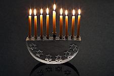 Six Star Hanukkah Menorah by Benjamin Silver (Art Glass Menorah)