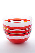 Lined Red Bowl by Benjamin Silver (Art Glass Bowl)