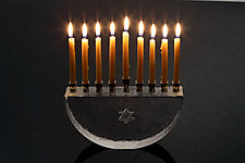 Hanukkah Menorah by Benjamin Silver (Art Glass Menorah)