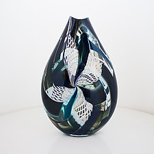Black with Reticello by Jeffrey P'an (Art Glass Vessel)