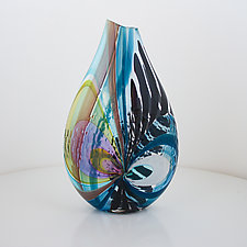 Blue Strigi Vase by Jeffrey P'an (Art Glass Vessel)