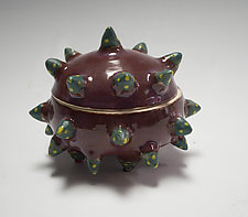 Smokey Merlot Urchin Container by Vaughan Nelson (Ceramic Box)