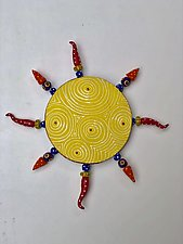 Yellow Optix Sun by Vaughan Nelson (Ceramic Wall Sculpture)