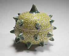 Green Urchin Container by Vaughan Nelson (Ceramic Box)