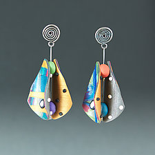 Small Wings Teardrop in Random Colors by Arden Bardol (Polymer Clay Earrings)