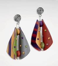 Wings Teardrop Earrings - Primary Mix by Arden Bardol (Polymer Clay Earrings)