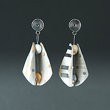 Wings Teardrop Small in Neutral Mix by Arden Bardol (Polymer Clay Earrings)