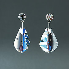 Small Wings Teardrop in Blue Neutral by Arden Bardol (Polymer Clay Earrings)