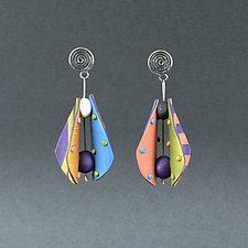 Small Wings Teardrop in Peach and Periwinkle by Arden Bardol (Polymer Clay Earrings)