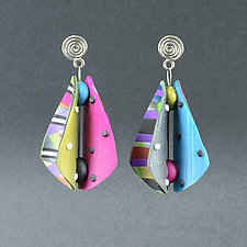 Wings Teardrop Spring Multi, Pink, and Blue by Arden Bardol (Polymer Clay Earrings)