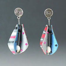 Small Wings Teardrop in Pink Multi Mix by Arden Bardol (Polymer Clay Earrings)