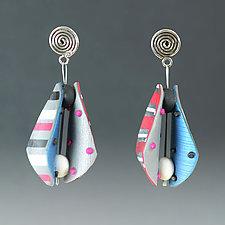 Small Wings Teardrop in Pink Multi Mix by Arden Bardol (Polymer Clay Earrings)