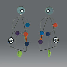 Kinetic Dots Multi I by Arden Bardol (Polymer Clay Earrings)