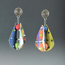 Small Wings Teardrop in Tangerine Multi Mix by Arden Bardol (Polymer Clay Earrings)