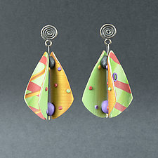 Wings Teardrop Lime Gold by Arden Bardol (Polymer Clay Earrings)