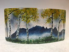Misty Blue Ridge Mountain Fall Overlook II by Amanda Taylor (Art Glass Sculpture)