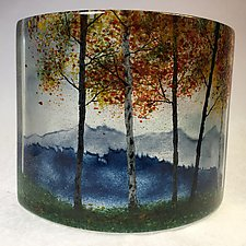Misty Blue Ridge Mountain Fall Overlook IV by Amanda Taylor (Art Glass Sculpture)