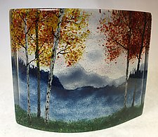 Misty Blue Ridge Mountain Fall Overlook III by Amanda Taylor (Art Glass Sculpture)