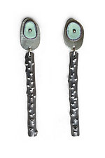 Spot of Color Earrings by Beth Novak (Silver, Copper & Enamel Earrings)