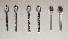 Spot of Color Earrings by Beth Novak (Silver, Copper & Enamel Earrings)