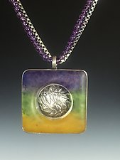 Square Pendant Necklace by Carol Martin (Silver & Glass Necklace)