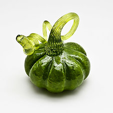 Green Stem Pumpkin - Green by Bryan Goldenberg (Art Glass Sculpture)