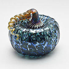 Gold Stem Pumpkin - Blue by Bryan Goldenberg (Art Glass Sculpture)