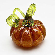 Green Stem Pumpkin - Brown by Bryan Goldenberg (Art Glass Sculpture)