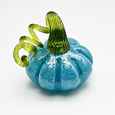 Green Stem Pumpkin - Blue by Bryan Goldenberg (Art Glass Sculpture)