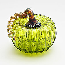 Gold Stem Pumpkin - Lime by Bryan Goldenberg (Art Glass Sculpture)