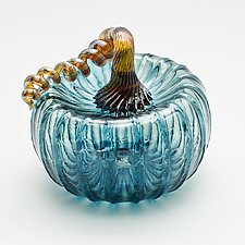 Gold Stem Pumpkin - Aqua by Bryan Goldenberg (Art Glass Sculpture)