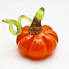 Green Stem Pumpkin - Orange by Bryan Goldenberg (Art Glass Sculpture)