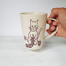 White Knitting Cat Mug by Heidi Fahrenbacher (Ceramic Mug)