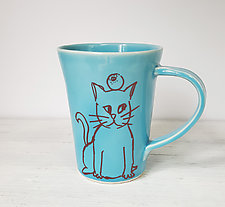 Patient Cat Mug by Heidi Fahrenbacher (Ceramic Mug)