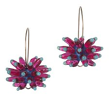 Anemone Earrings in Pink by Kate Rothra Fleming (Silver and Glass Earrings)
