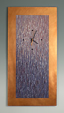 Large Purple Blend on Copper by Linda Lamore (Painted Metal Clock)