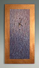 Large Purple Blend on Copper by Linda Lamore (Painted Metal Clock)
