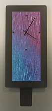 Large Jewel Blend on Black with Pendulum by Linda Lamore (Aluminum Clock)