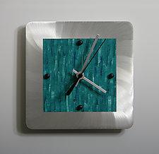 Mini Shelf Clock on Brushed Aluminum by Linda Lamore (Painted Metal Clock)