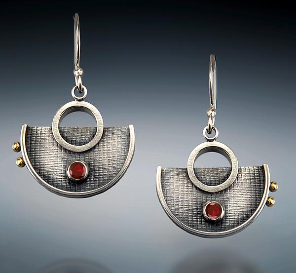 4c01506b2 Garnet Half-Circle Dangles by Michele LeVett (Silver & Stone Earrings)    Artful Home