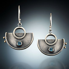 Half-Circle Dangles by Michele LeVett (Silver & Stone Earrings)
