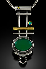 Green Onyx Pendant by Michele LeVett (Gold, Silver & Stone Necklace)