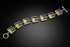 Spessartite Square Link Bracelet by Michele LeVett (Gold, Silver & Stone Bracelet)