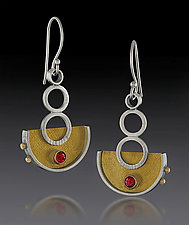 Half Circle Dangles with Gold and Garnet by Michele LeVett (Gold, Silver & Stone Earrings)