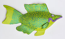 Lime Dazzle Darter by Byron Williamson (Ceramic Wall Sculpture)